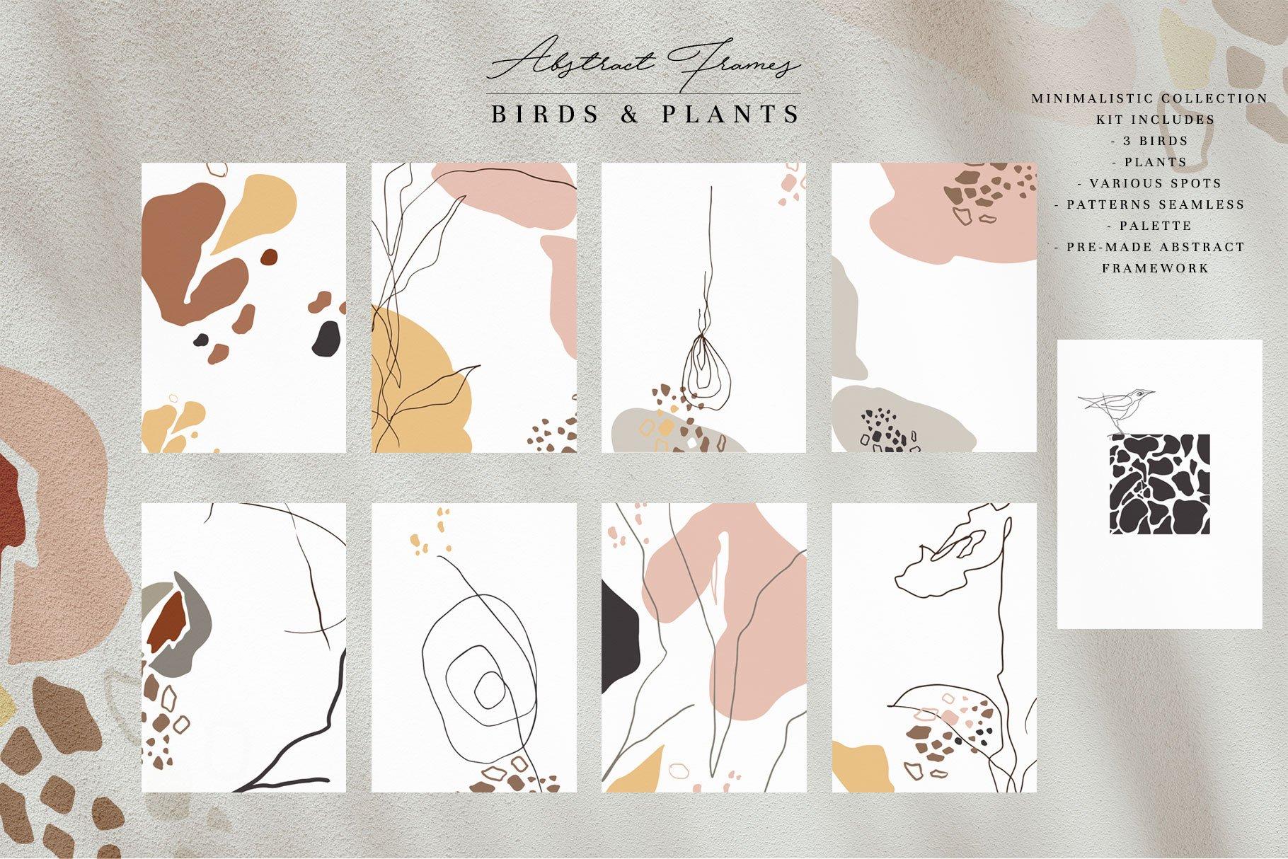 现代抽象几何图形鸟类矢量线条设计素材 Modern Abstraction Birds & Plants插图1
