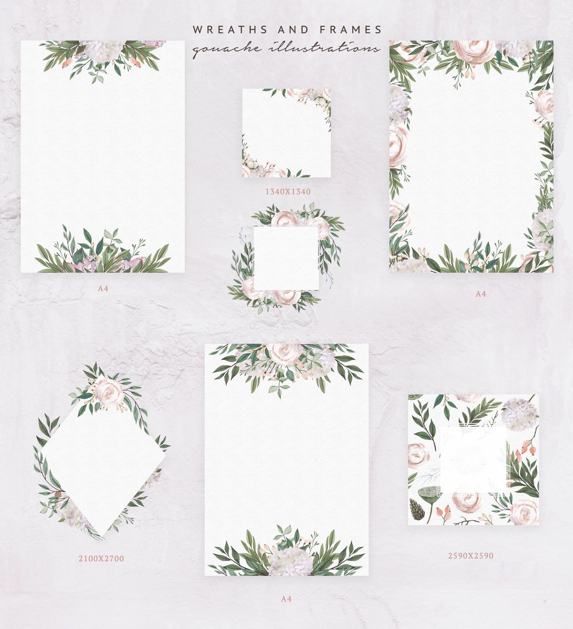 哑光油漆质感花卉树叶手绘水彩画PNG透明图片素材 Gouache Dusty Flowers插图9
