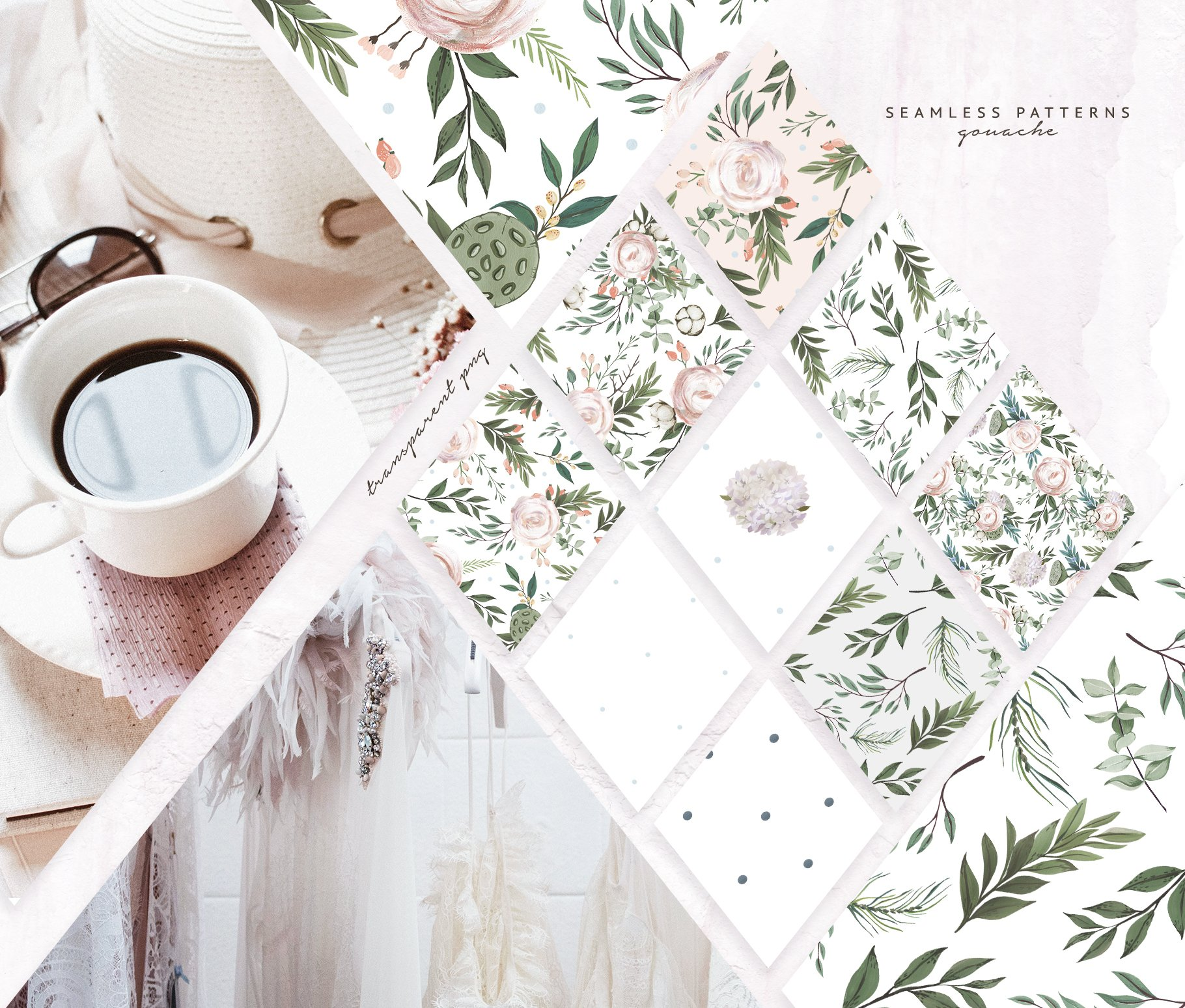 哑光油漆质感花卉树叶手绘水彩画PNG透明图片素材 Gouache Dusty Flowers插图1