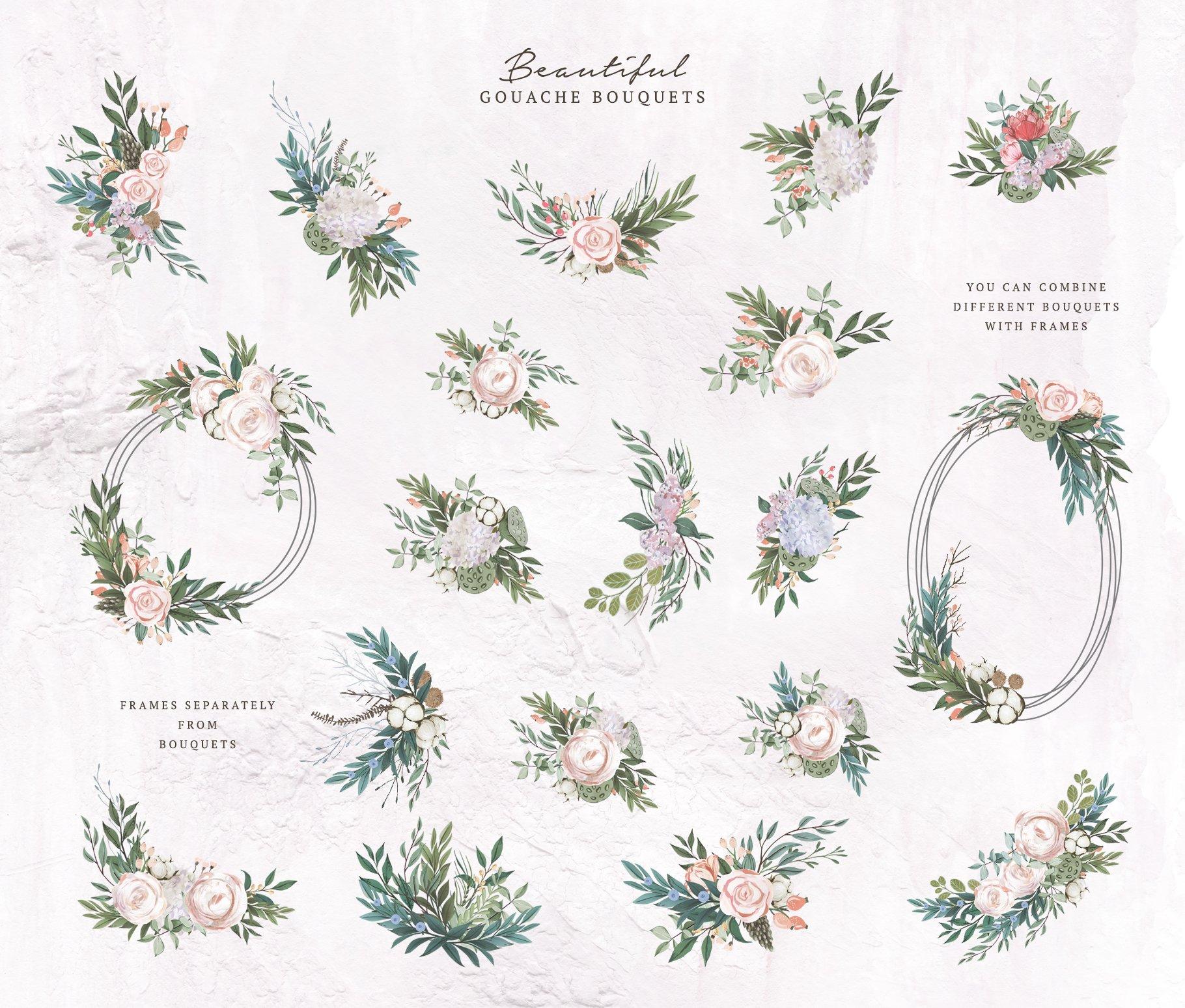 哑光油漆质感花卉树叶手绘水彩画PNG透明图片素材 Gouache Dusty Flowers插图2