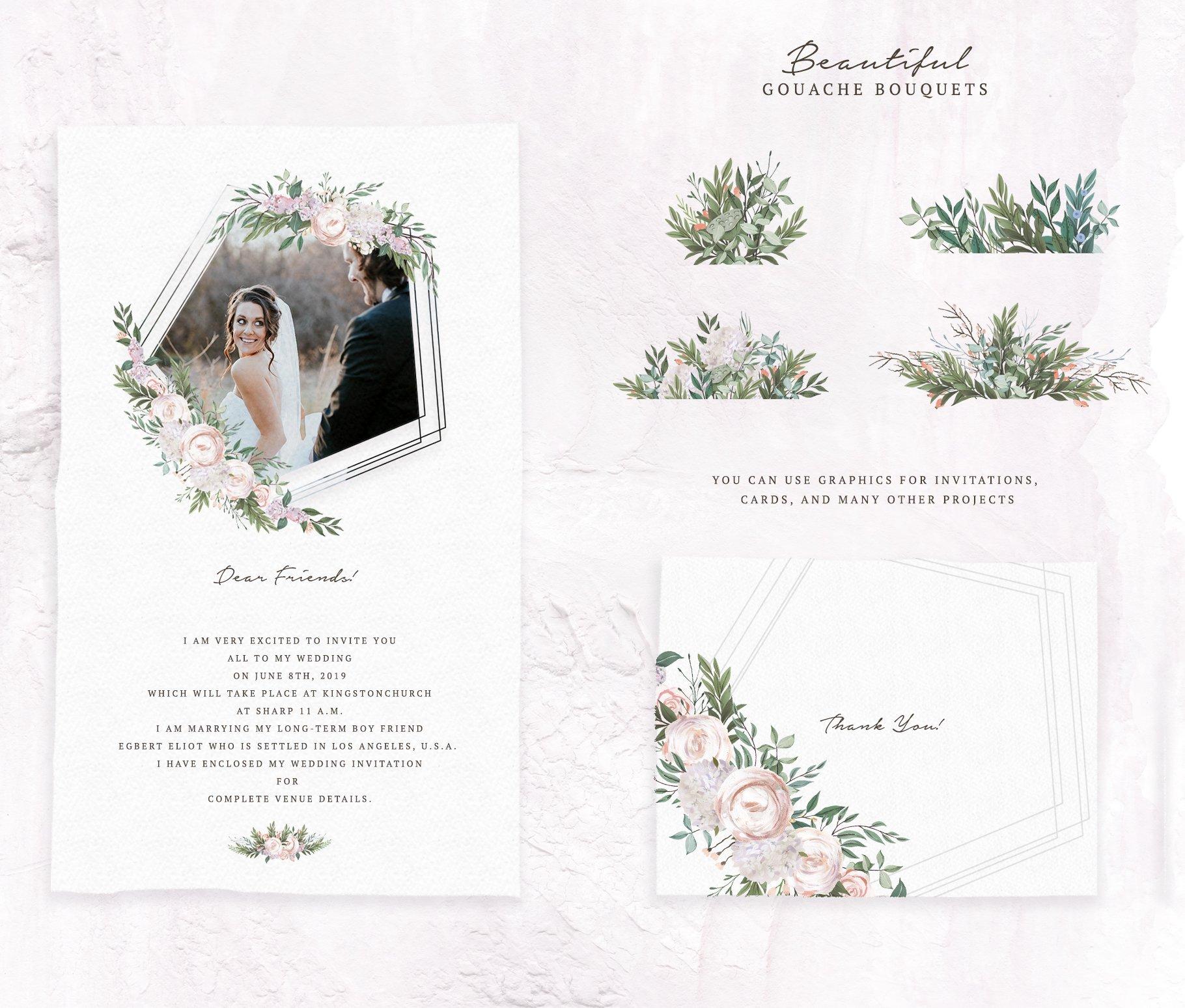 哑光油漆质感花卉树叶手绘水彩画PNG透明图片素材 Gouache Dusty Flowers插图4
