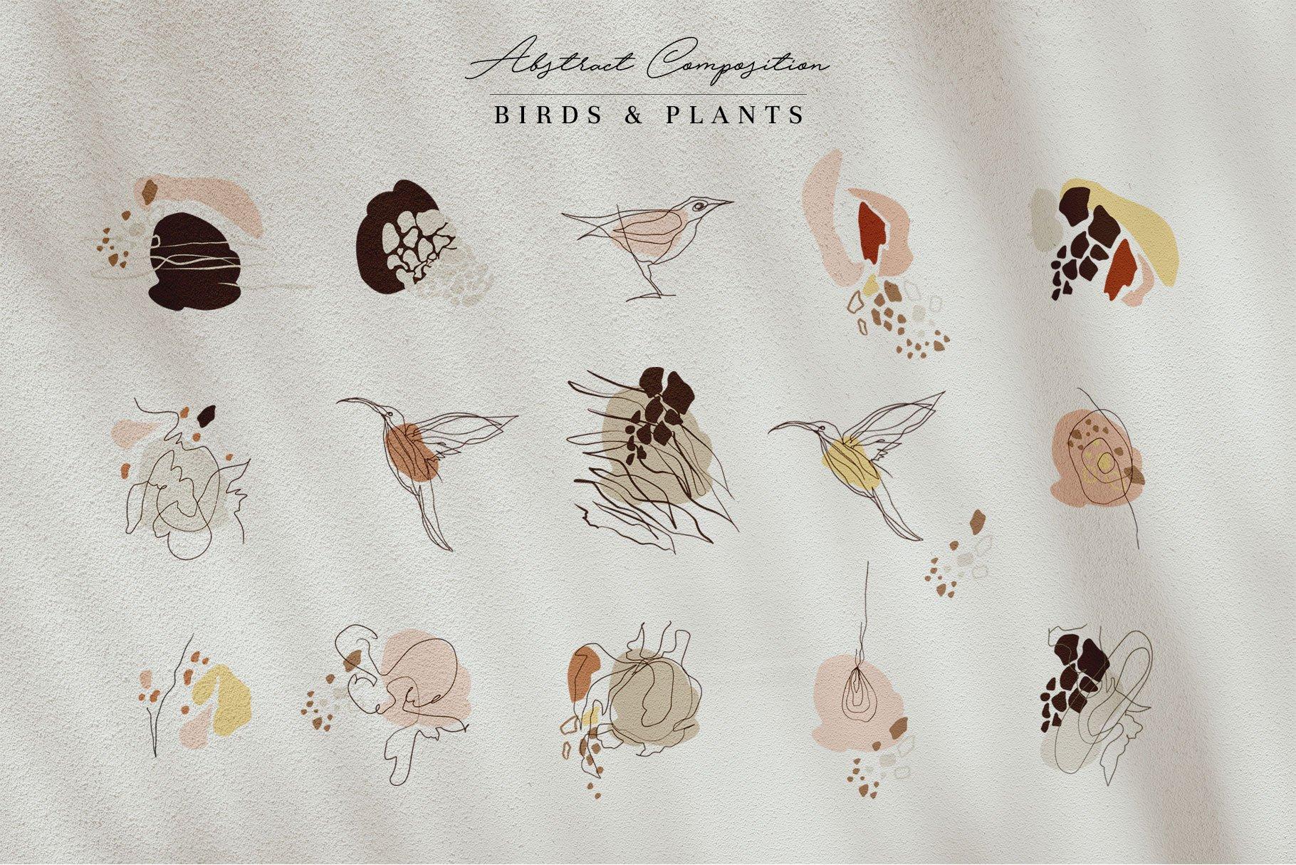 现代抽象几何图形鸟类矢量线条设计素材 Modern Abstraction Birds & Plants插图6