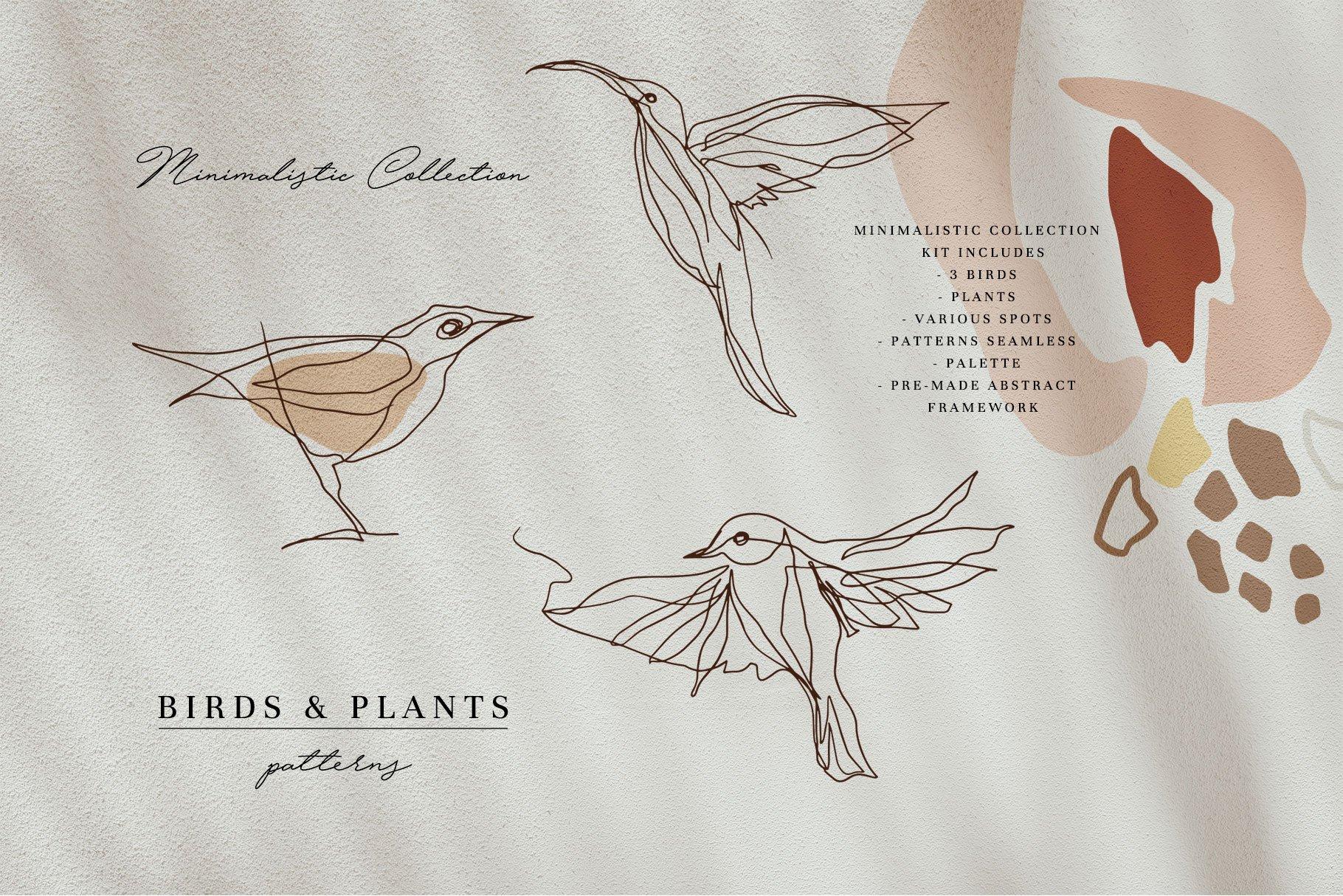 现代抽象几何图形鸟类矢量线条设计素材 Modern Abstraction Birds & Plants插图5