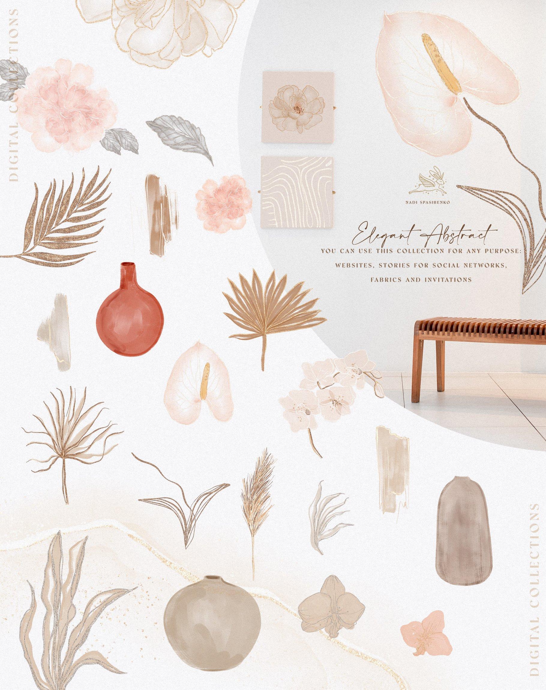 [单独购买] 时尚优雅抽象兰花玫瑰花水彩画金线PNG透明背景图片 Elegant Abstraction Modern插图5