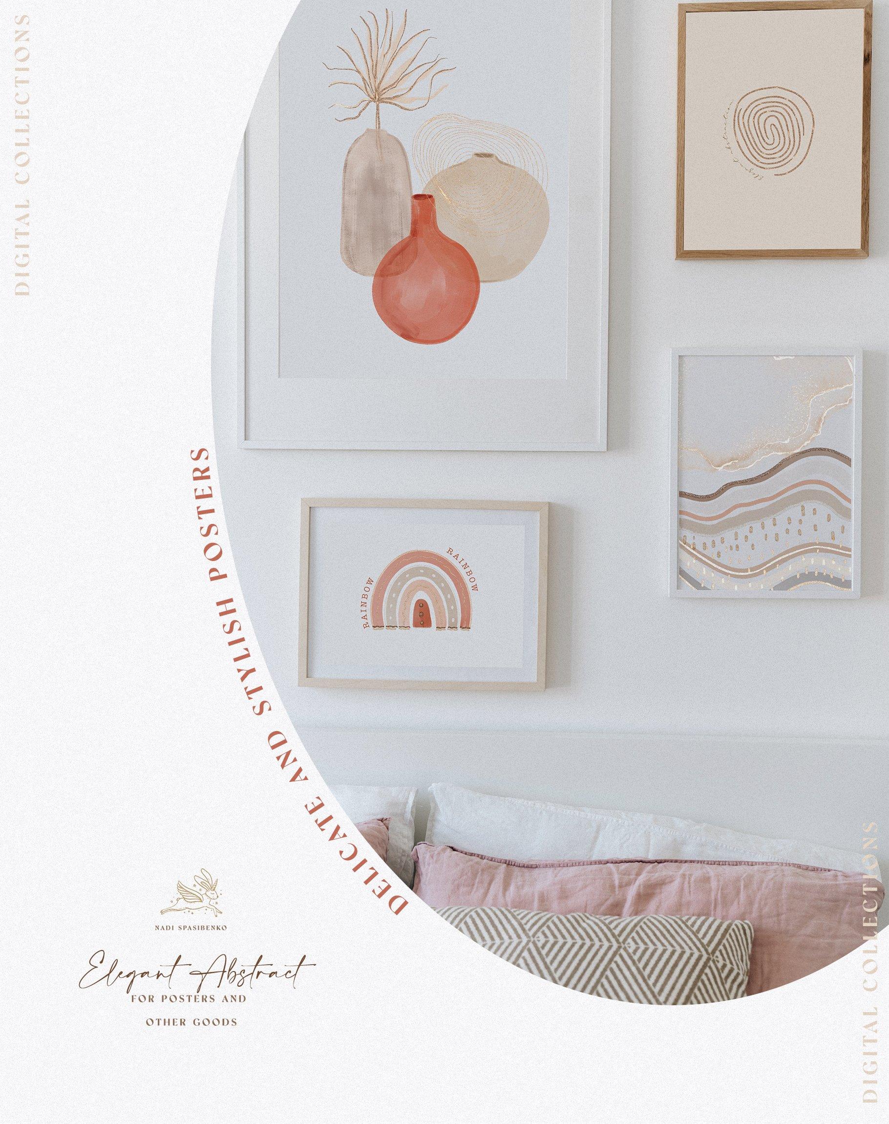 [单独购买] 时尚优雅抽象兰花玫瑰花水彩画金线PNG透明背景图片 Elegant Abstraction Modern插图7