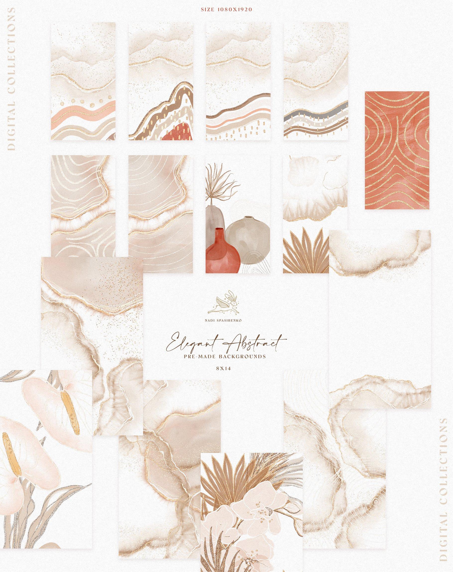 [单独购买] 时尚优雅抽象兰花玫瑰花水彩画金线PNG透明背景图片 Elegant Abstraction Modern插图9