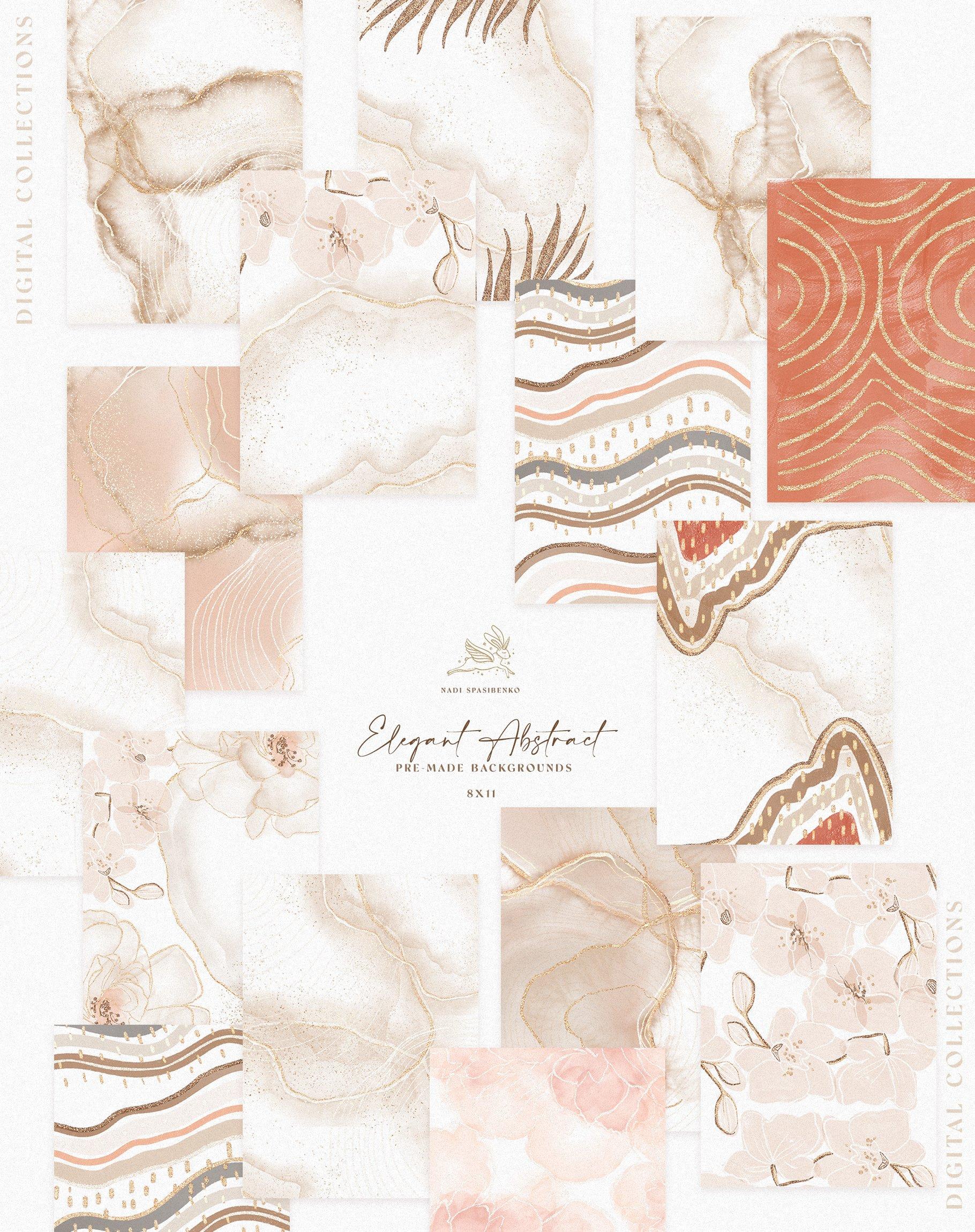[单独购买] 时尚优雅抽象兰花玫瑰花水彩画金线PNG透明背景图片 Elegant Abstraction Modern插图11