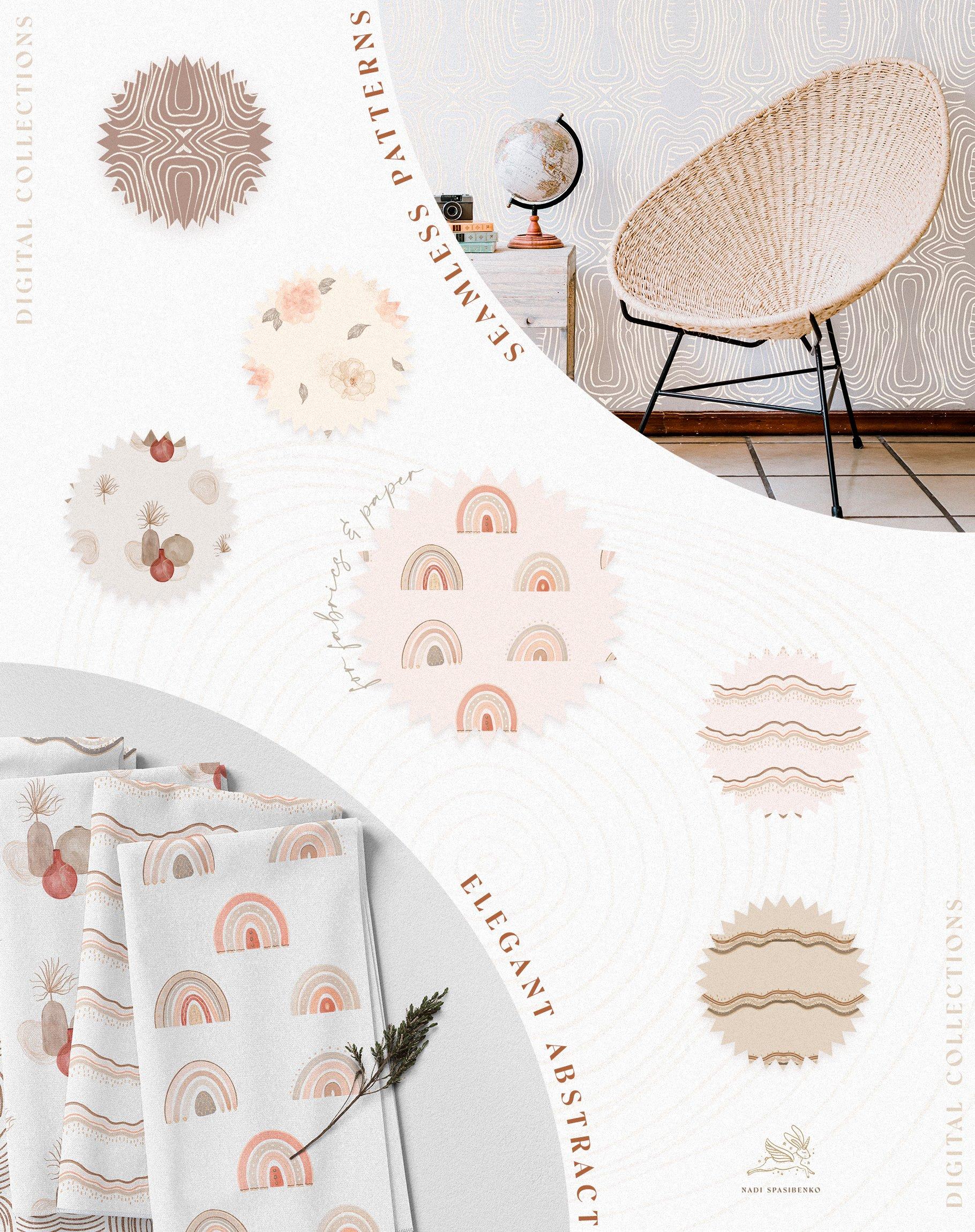 [单独购买] 时尚优雅抽象兰花玫瑰花水彩画金线PNG透明背景图片 Elegant Abstraction Modern插图2