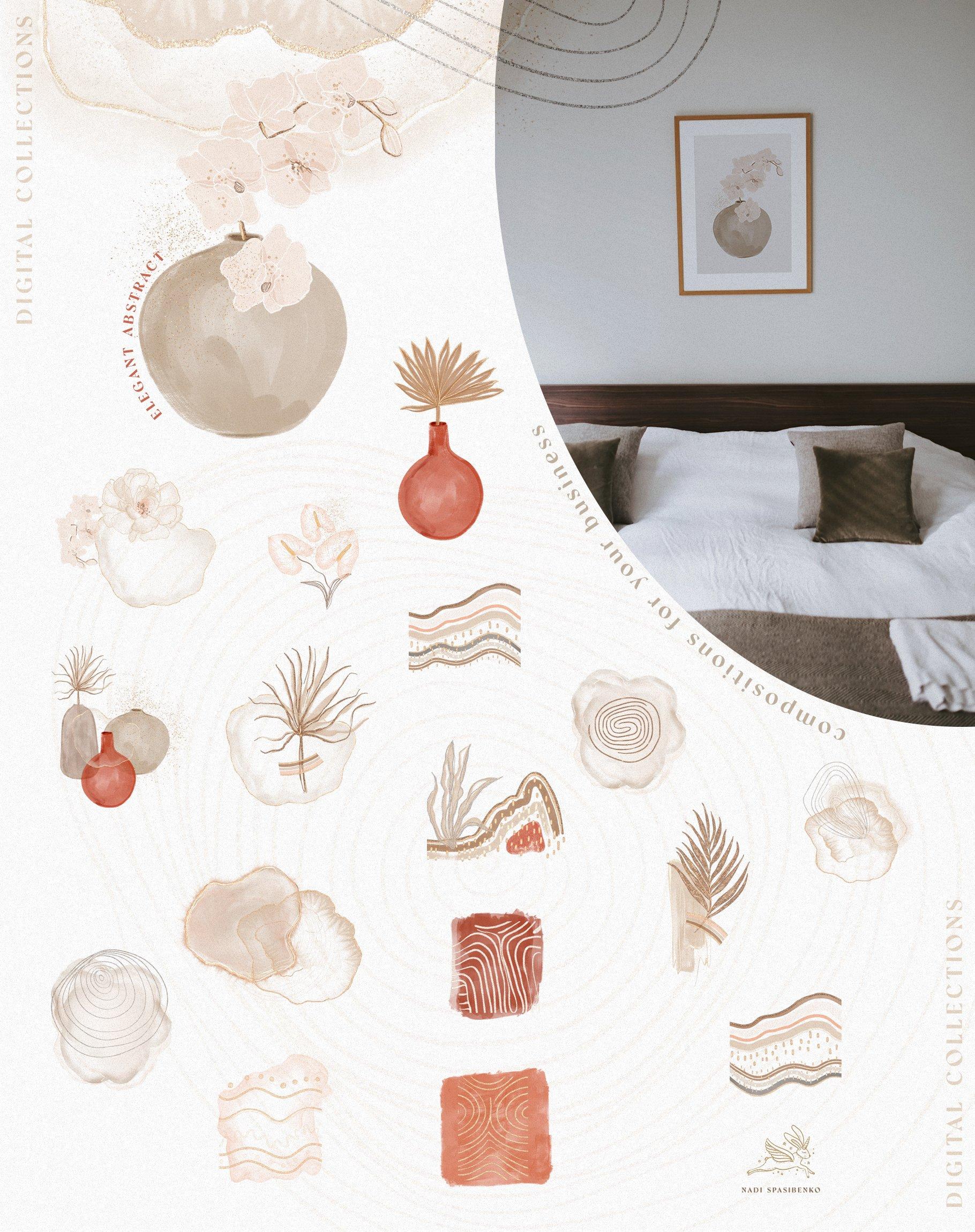 [单独购买] 时尚优雅抽象兰花玫瑰花水彩画金线PNG透明背景图片 Elegant Abstraction Modern插图3