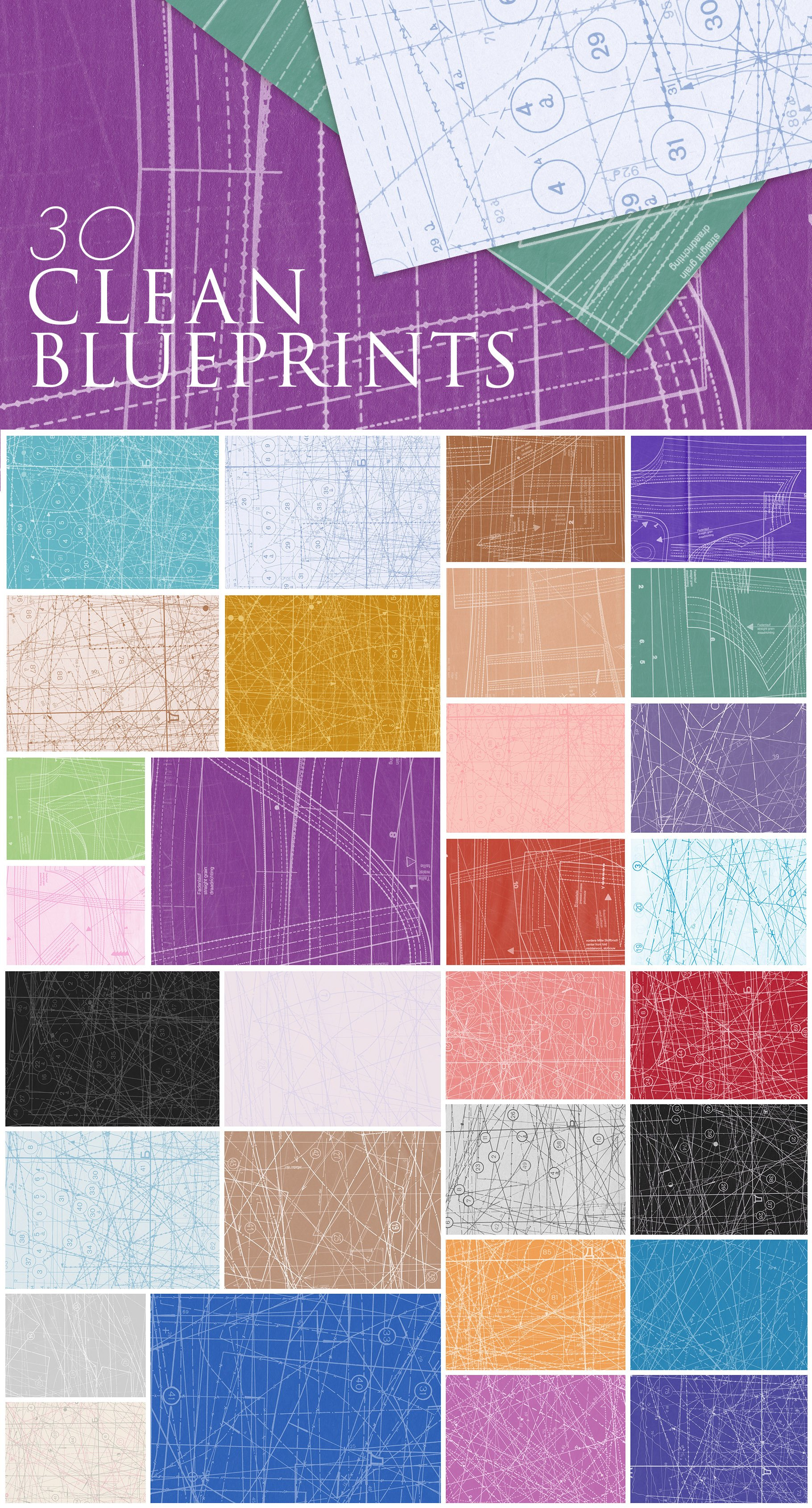 [单独购买] 60款潮流做旧粗糙图纸纹理海报设计背景底纹图片素材 Fabric Blueprint Textures插图1