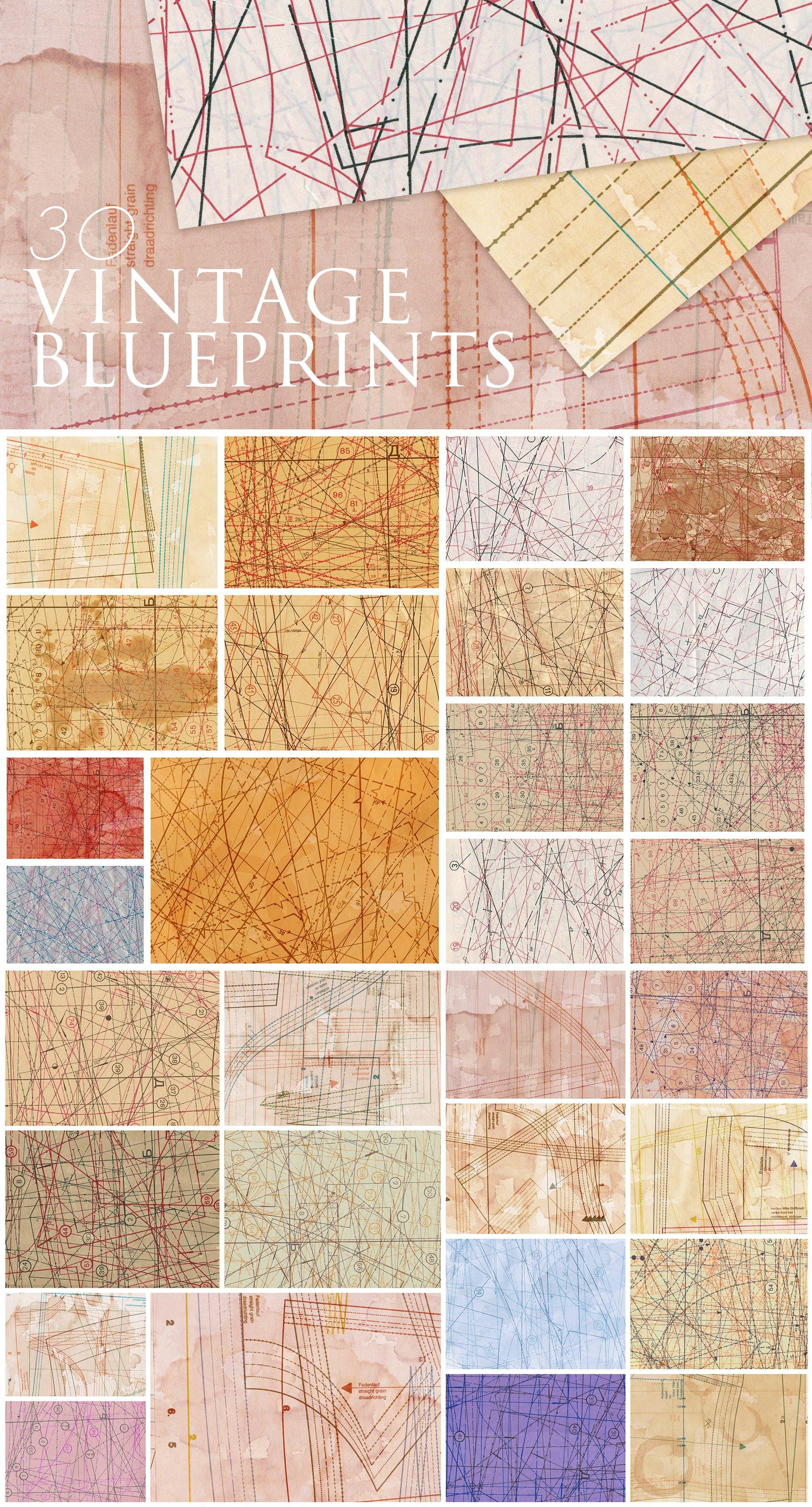 [单独购买] 60款潮流做旧粗糙图纸纹理海报设计背景底纹图片素材 Fabric Blueprint Textures插图2