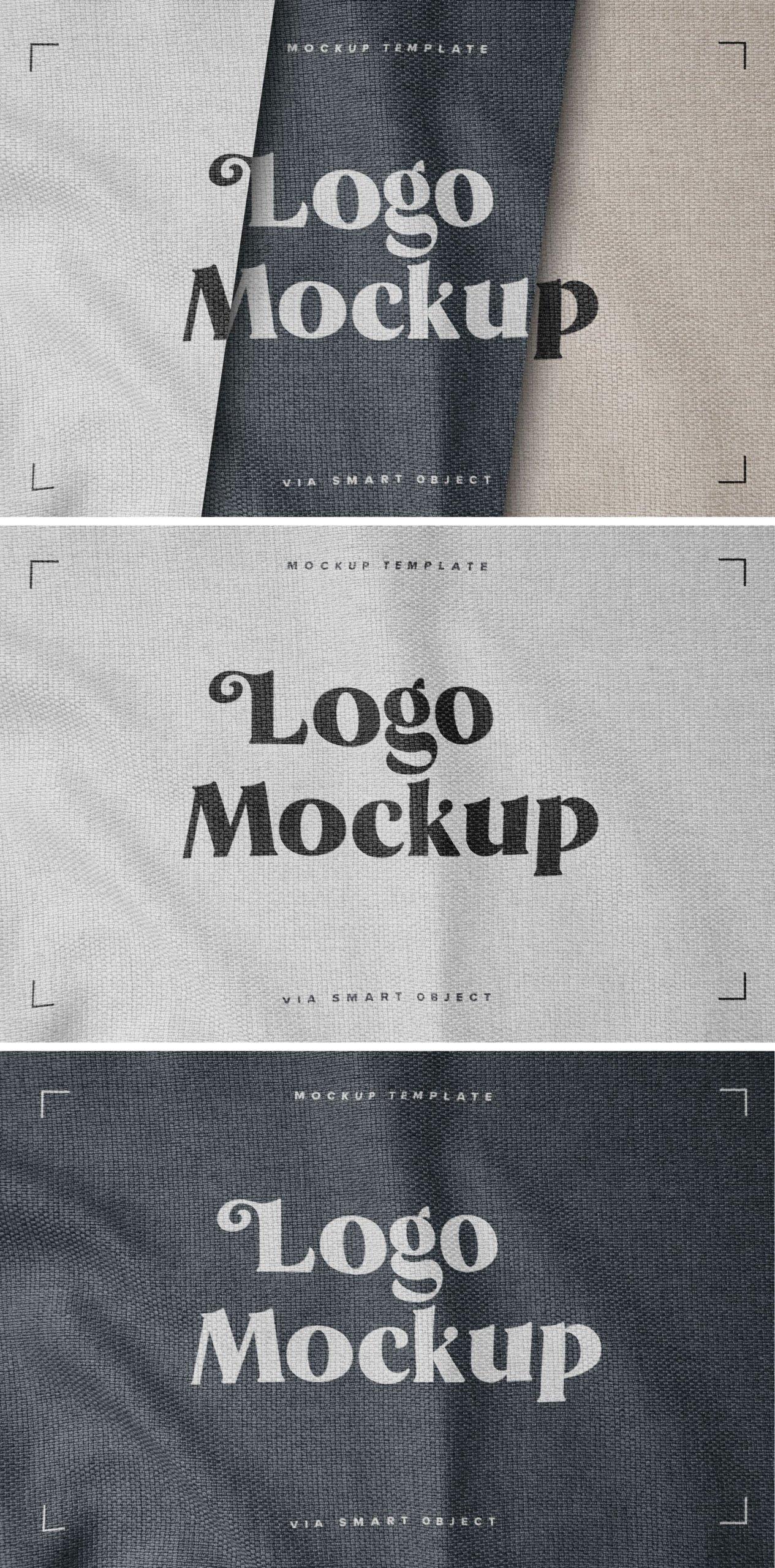 逼真纺织面料效果徽标Logo设计展示样机模板 Fabric Print Logo Mockup Set插图4