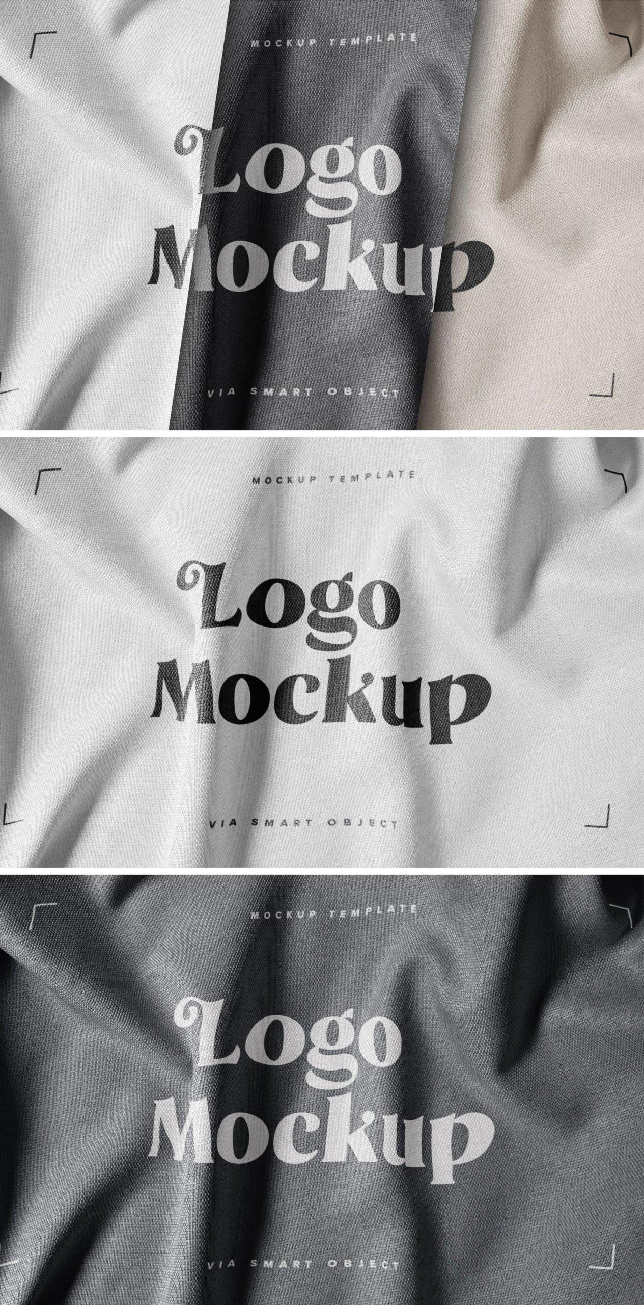 逼真纺织面料效果徽标Logo设计展示样机模板 Fabric Print Logo Mockup Set插图5