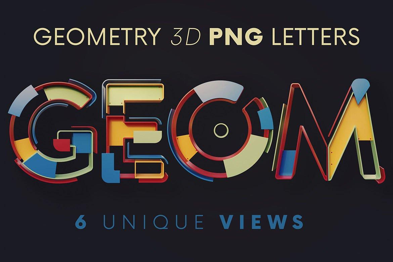 逼真未来派3D渲染字母数字PNG透明背景图片设计素材 Geometry – 3D Lettering插图