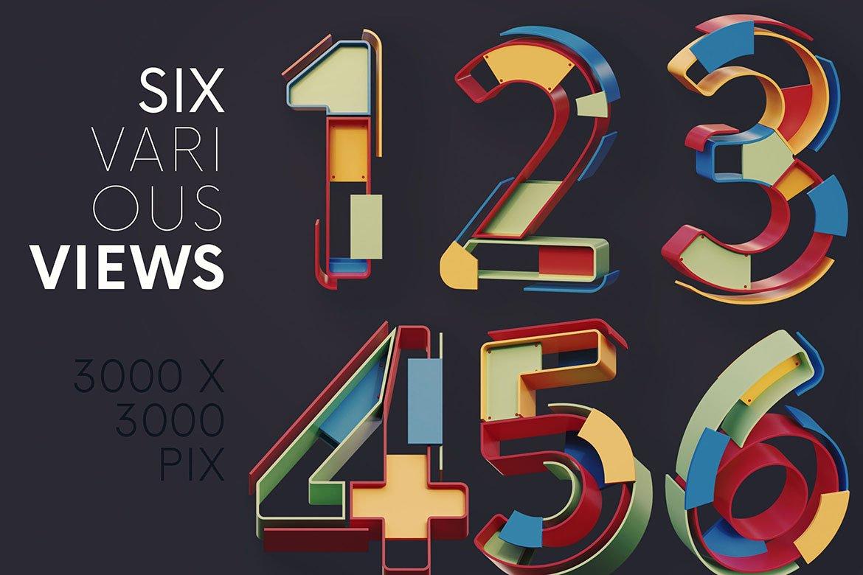 逼真未来派3D渲染字母数字PNG透明背景图片设计素材 Geometry – 3D Lettering插图2