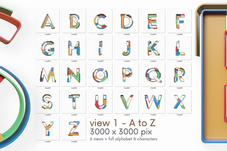 逼真未来派3D渲染字母数字PNG透明背景图片设计素材 Geometry – 3D Lettering插图5