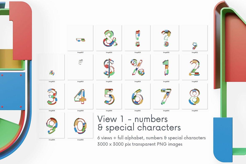 逼真未来派3D渲染字母数字PNG透明背景图片设计素材 Geometry – 3D Lettering插图6