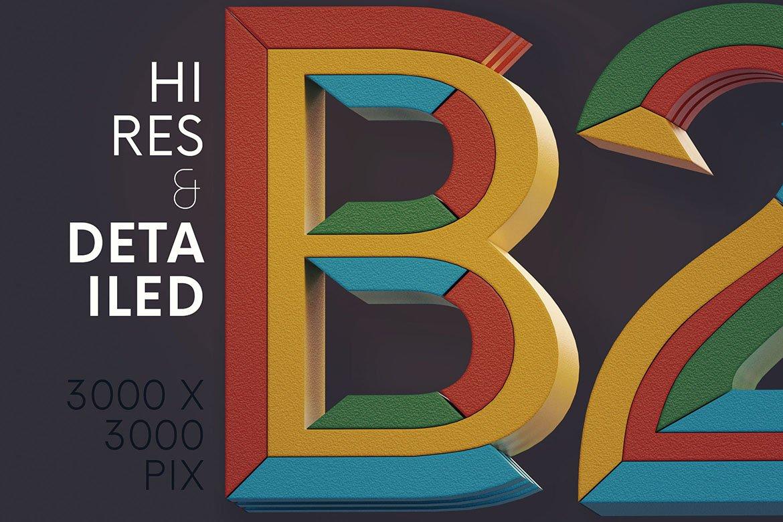 高清未来派3D渲染字母数字海报设计PNG透明背景图片素材 Geometry 2 – 3D Lettering插图1