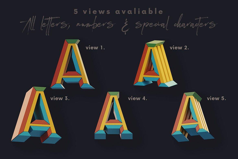 高清未来派3D渲染字母数字海报设计PNG透明背景图片素材 Geometry 2 – 3D Lettering插图2