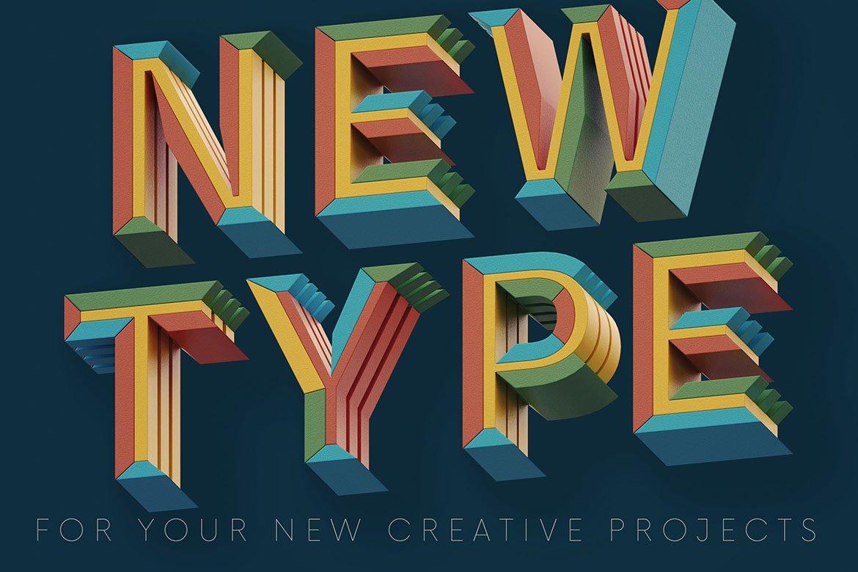 高清未来派3D渲染字母数字海报设计PNG透明背景图片素材 Geometry 2 – 3D Lettering插图4
