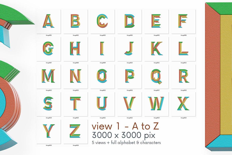 高清未来派3D渲染字母数字海报设计PNG透明背景图片素材 Geometry 2 – 3D Lettering插图5