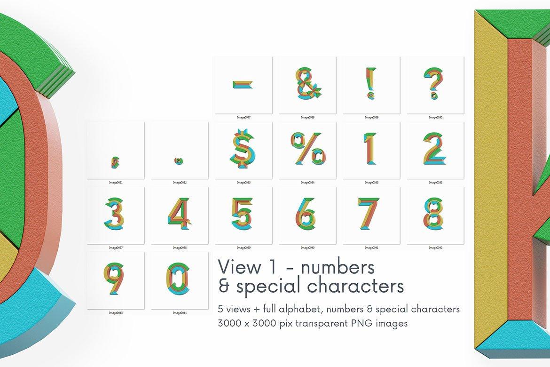 高清未来派3D渲染字母数字海报设计PNG透明背景图片素材 Geometry 2 – 3D Lettering插图6