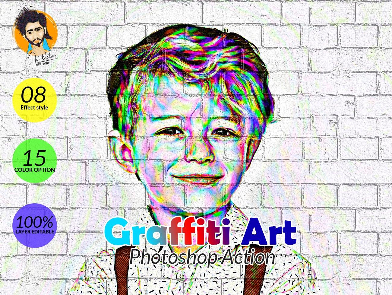 涂鸦艺术照片处理特效PS动作模板 Graffiti Art Photoshop Action插图