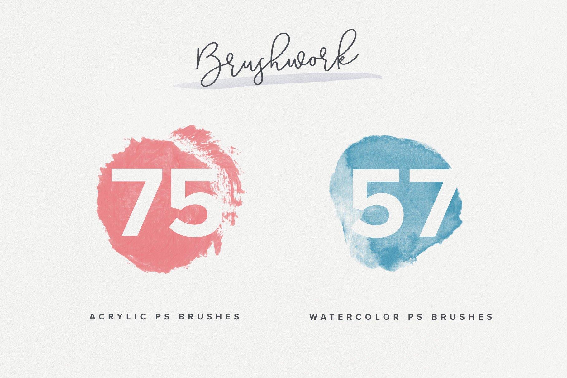 224款毛笔笔触水彩艺术绘画PS&Procreate笔刷素材 Brushwork PS & Procreate Brushes插图2