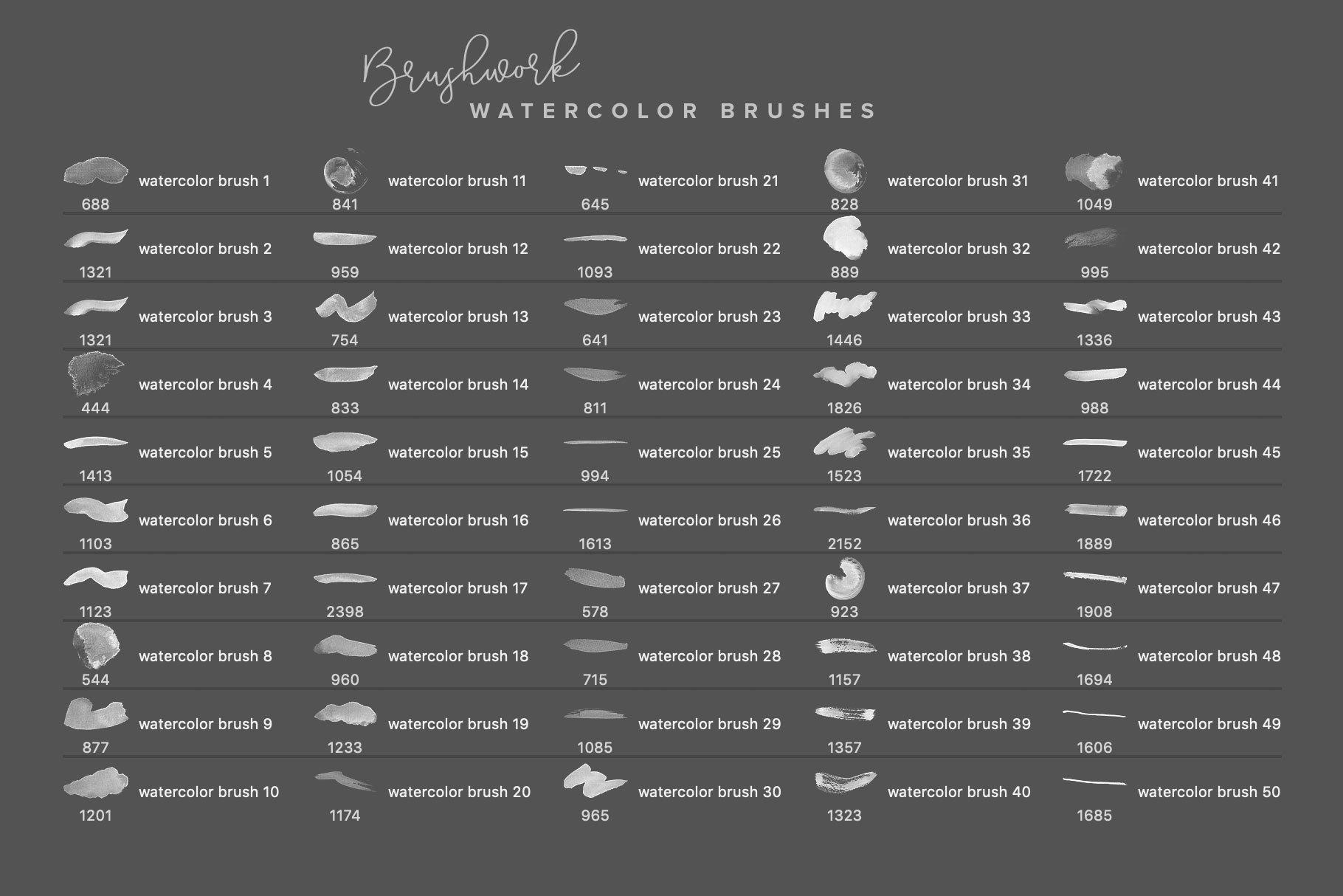 224款毛笔笔触水彩艺术绘画PS&Procreate笔刷素材 Brushwork PS & Procreate Brushes插图3