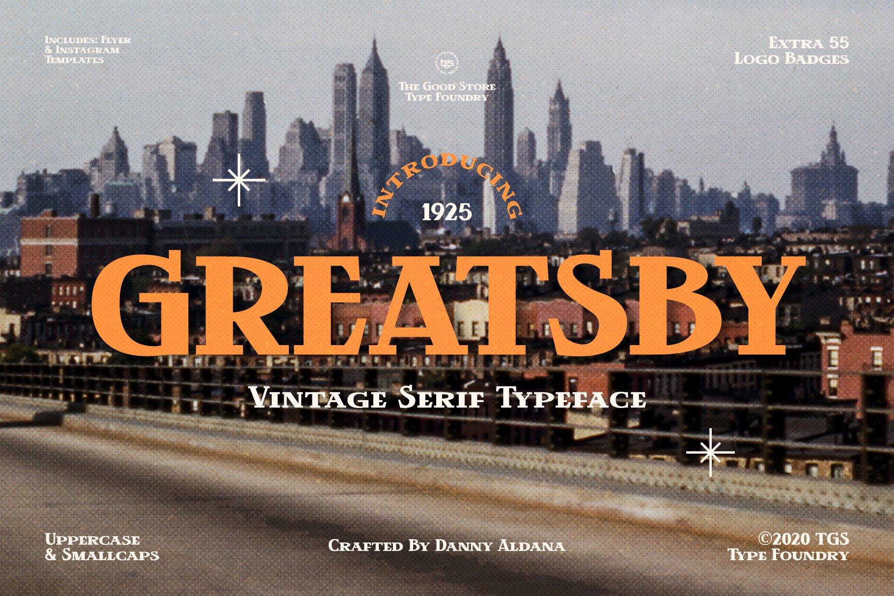 时尚复古封面标题徽标Logo衬线英文字体设计素材 Greatsby – The Good Store插图
