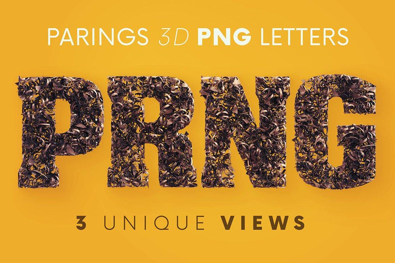 逼真高清金属碎屑3D字母海波设计PNG透明图片素材 Parings – 3D Lettering插图