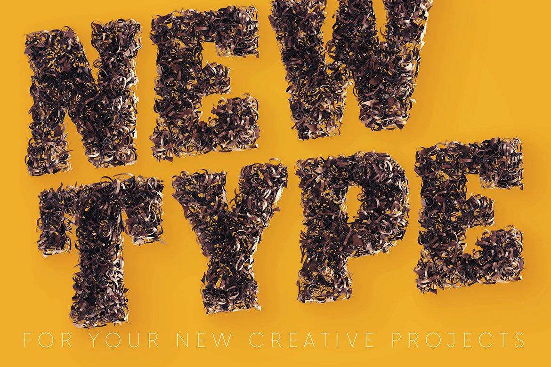 逼真高清金属碎屑3D字母海波设计PNG透明图片素材 Parings – 3D Lettering插图4
