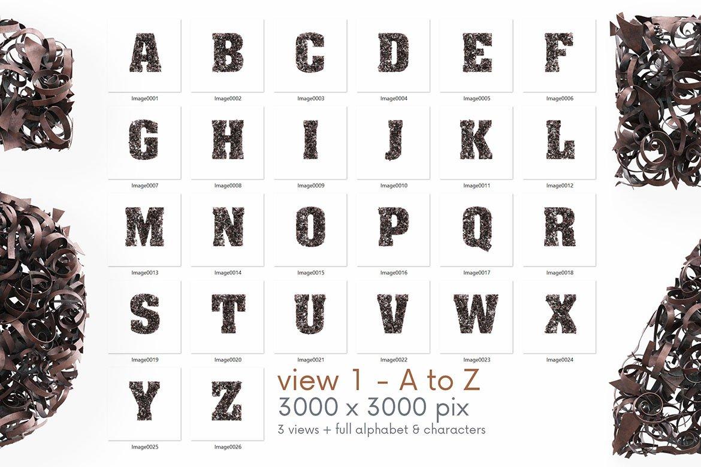 逼真高清金属碎屑3D字母海波设计PNG透明图片素材 Parings – 3D Lettering插图5