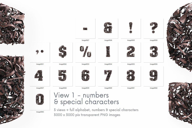 逼真高清金属碎屑3D字母海波设计PNG透明图片素材 Parings – 3D Lettering插图6