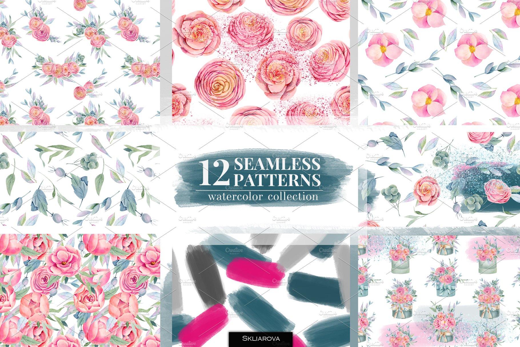 12款无缝隙花卉手绘水彩画图片设计素材合集 Floral Boxes. Seamless Patterns Set插图