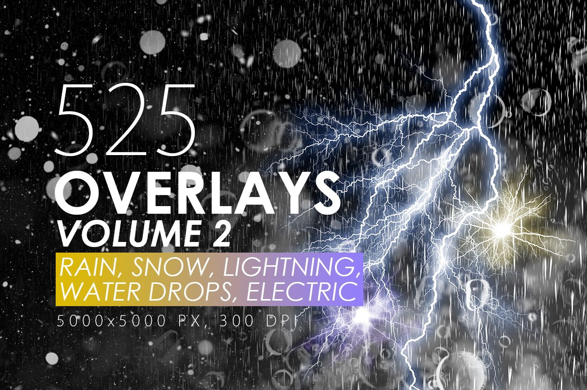 525款雷电暴雨水滴闪电暴风雪恶劣天气摄影视觉叠加背景底纹素材 525 Rain, Snow, Lightning Overlays插图