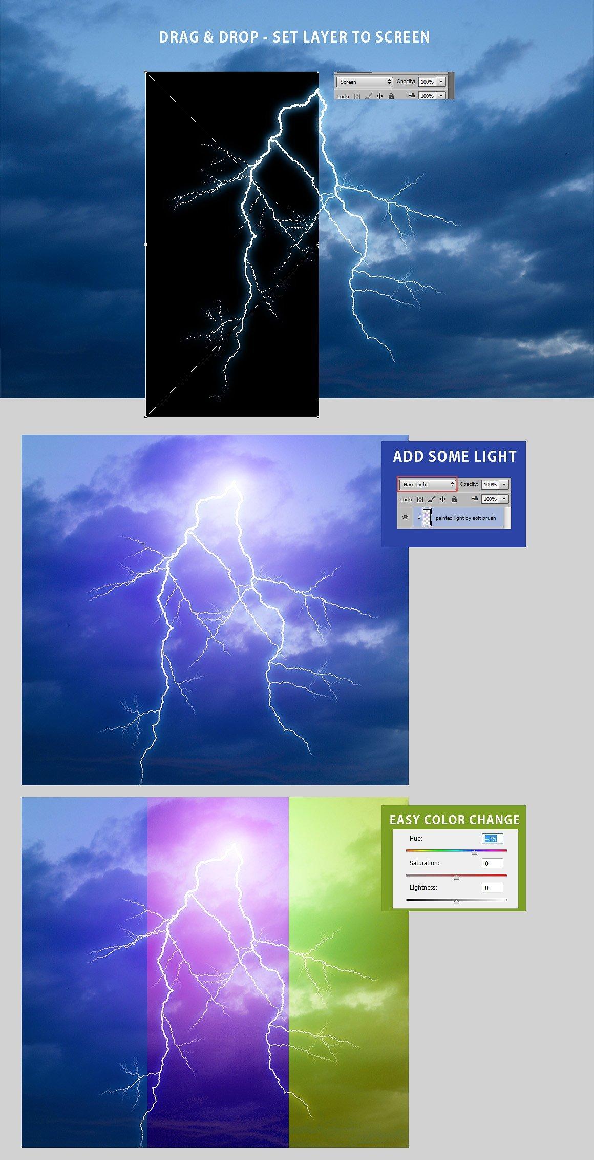 525款雷电暴雨水滴闪电暴风雪恶劣天气摄影视觉叠加背景底纹素材 525 Rain, Snow, Lightning Overlays插图9