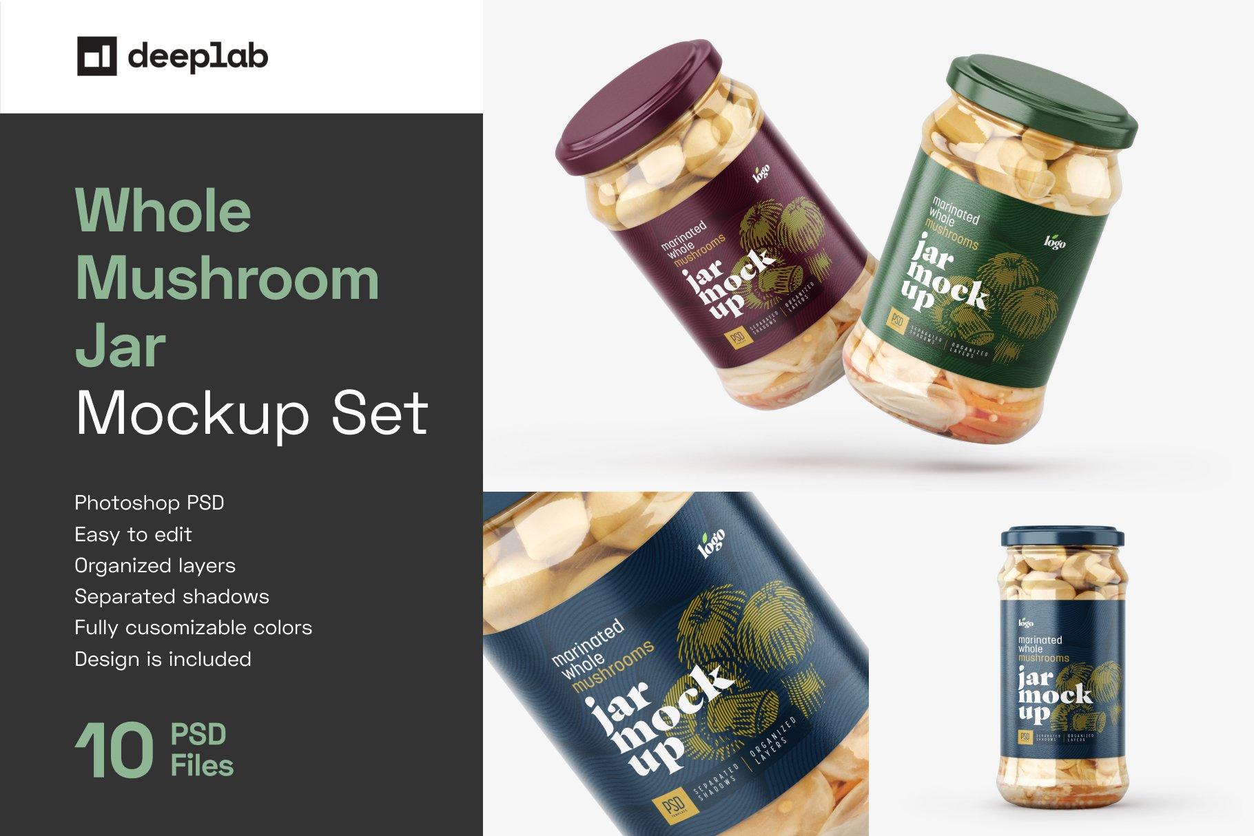 10款新潮蘑菇果酱水果罐头玻璃瓶标签设计展示样机合集 Whole Mushroom Jar Mockup Set插图