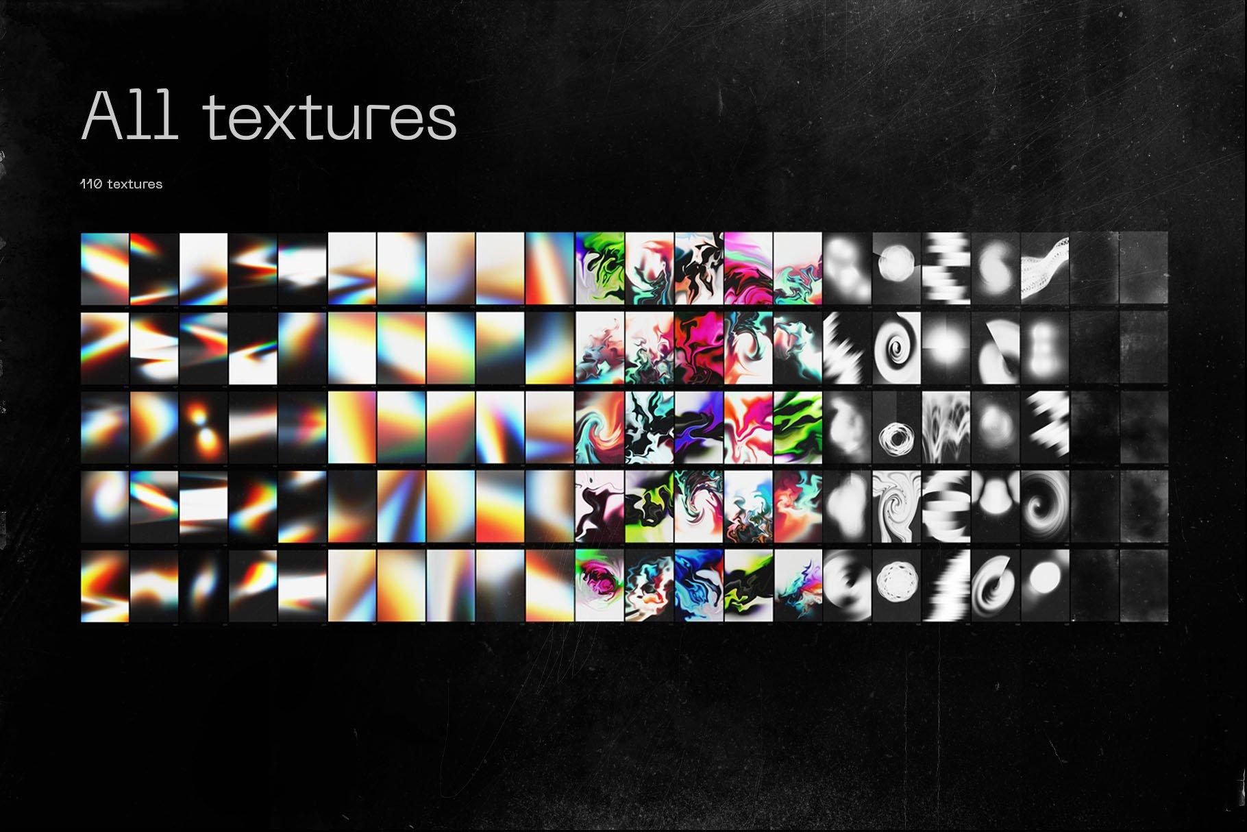 [单独购买] 潮流抽象粗糙划痕炫彩全息渐变油漆纹理背景图片矢量图案设计素材套装 Inartflow – Grafica Shapes Textures插图2