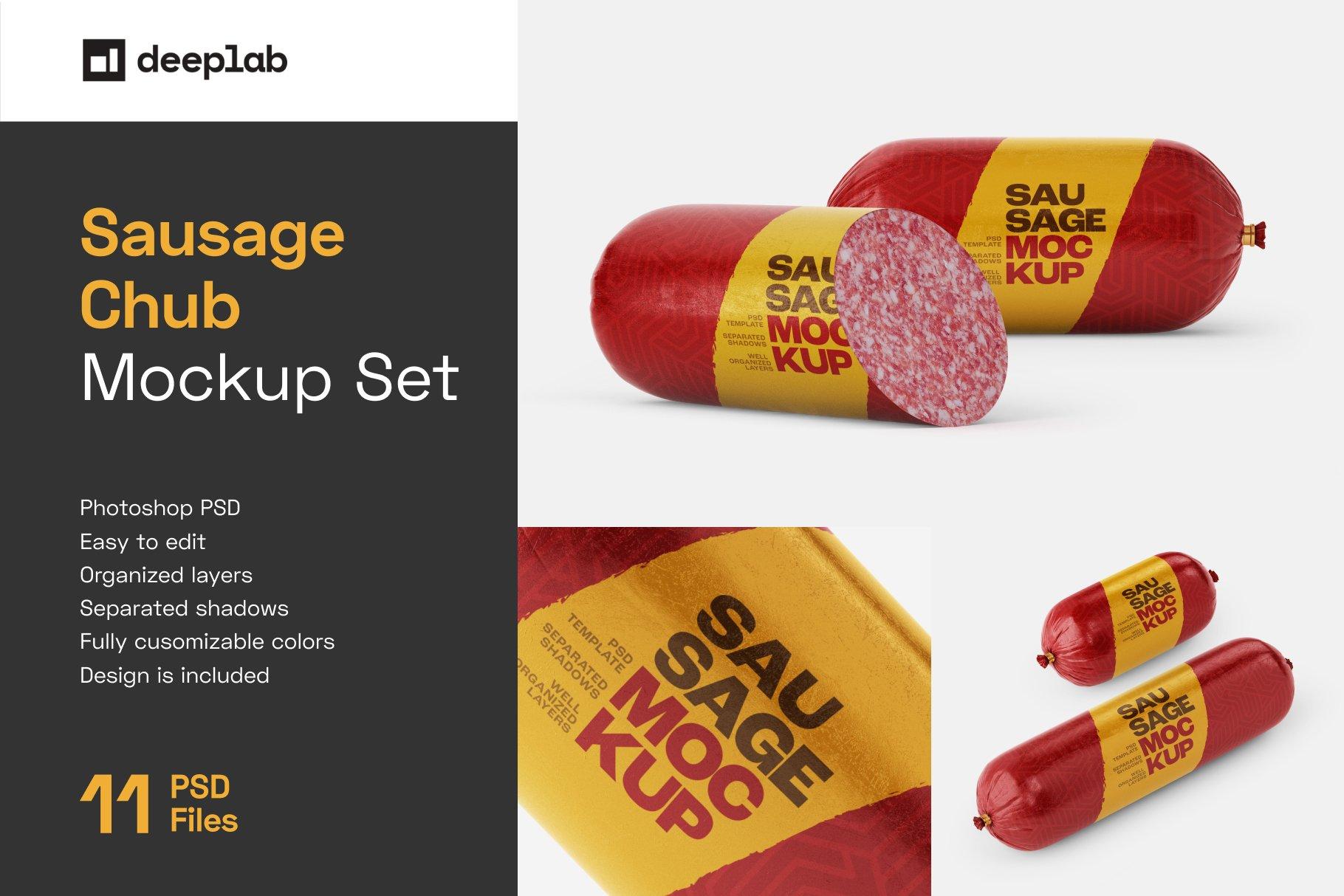 11款火腿肠香肠密封塑料袋设计展示贴图样机合集 Sausage Chub Mockup Set插图