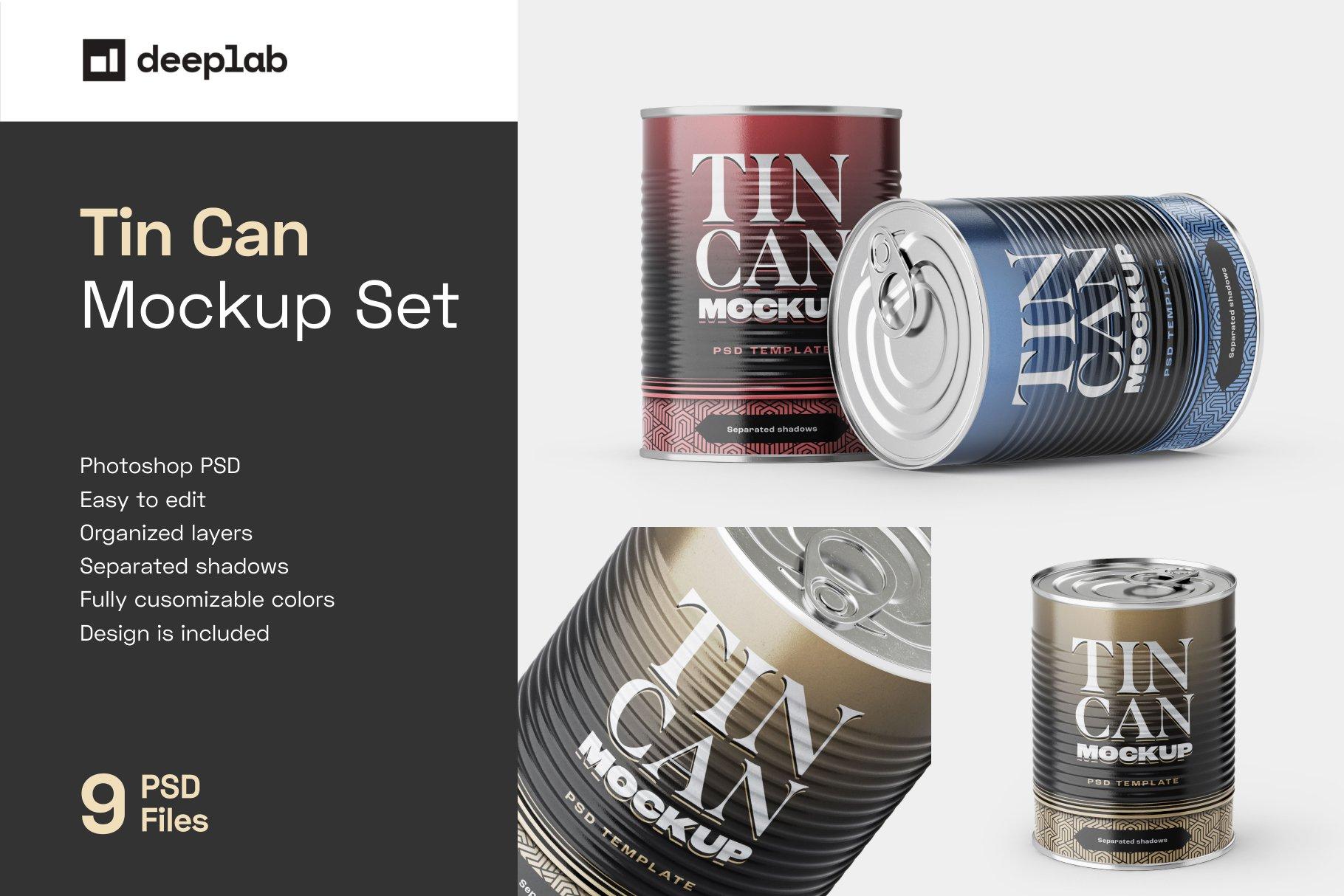 9款食品罐头金属锡罐包装样机模板素材合集 Tin Can Mockup Set | Conserve插图