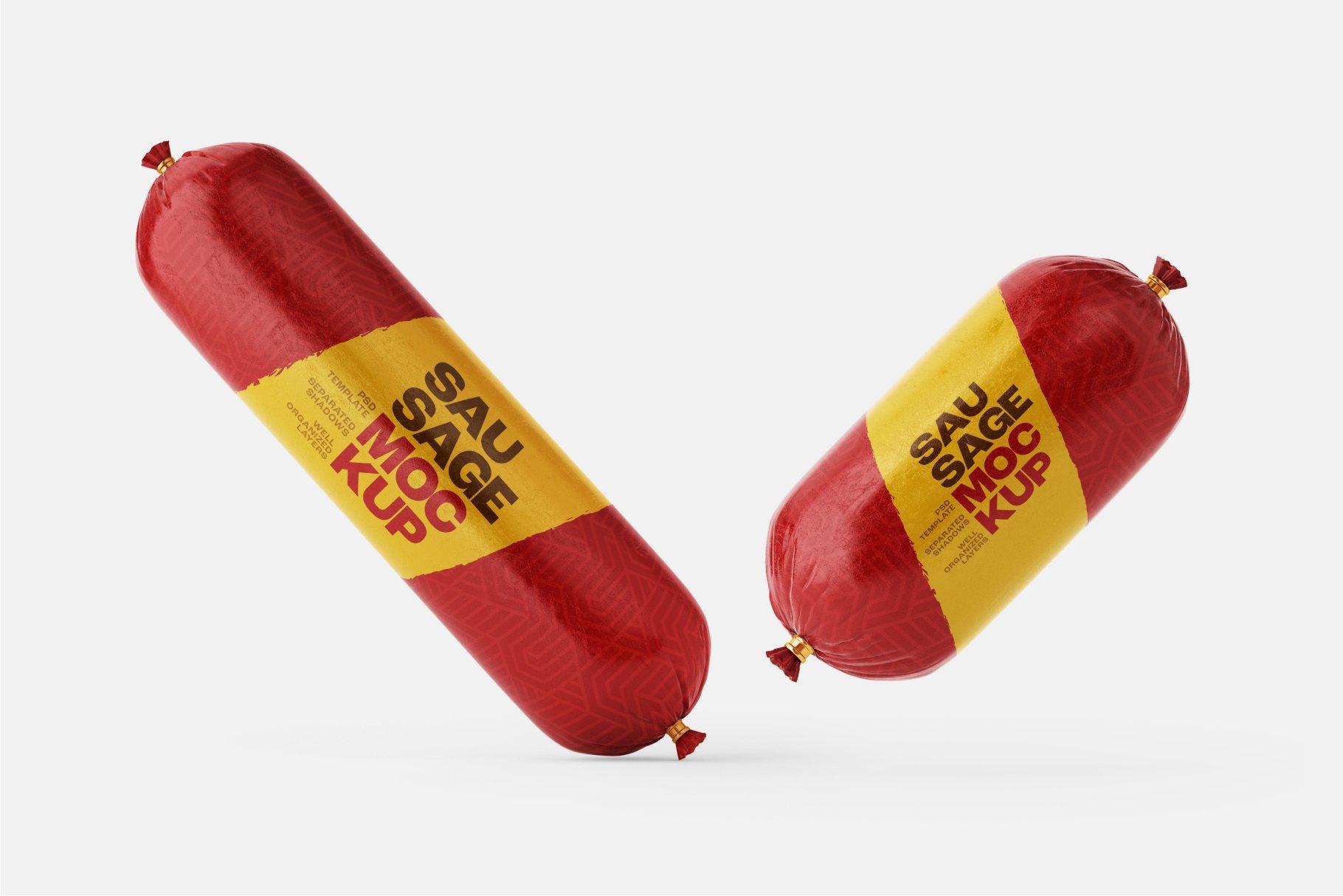 11款火腿肠香肠密封塑料袋设计展示贴图样机合集 Sausage Chub Mockup Set插图13