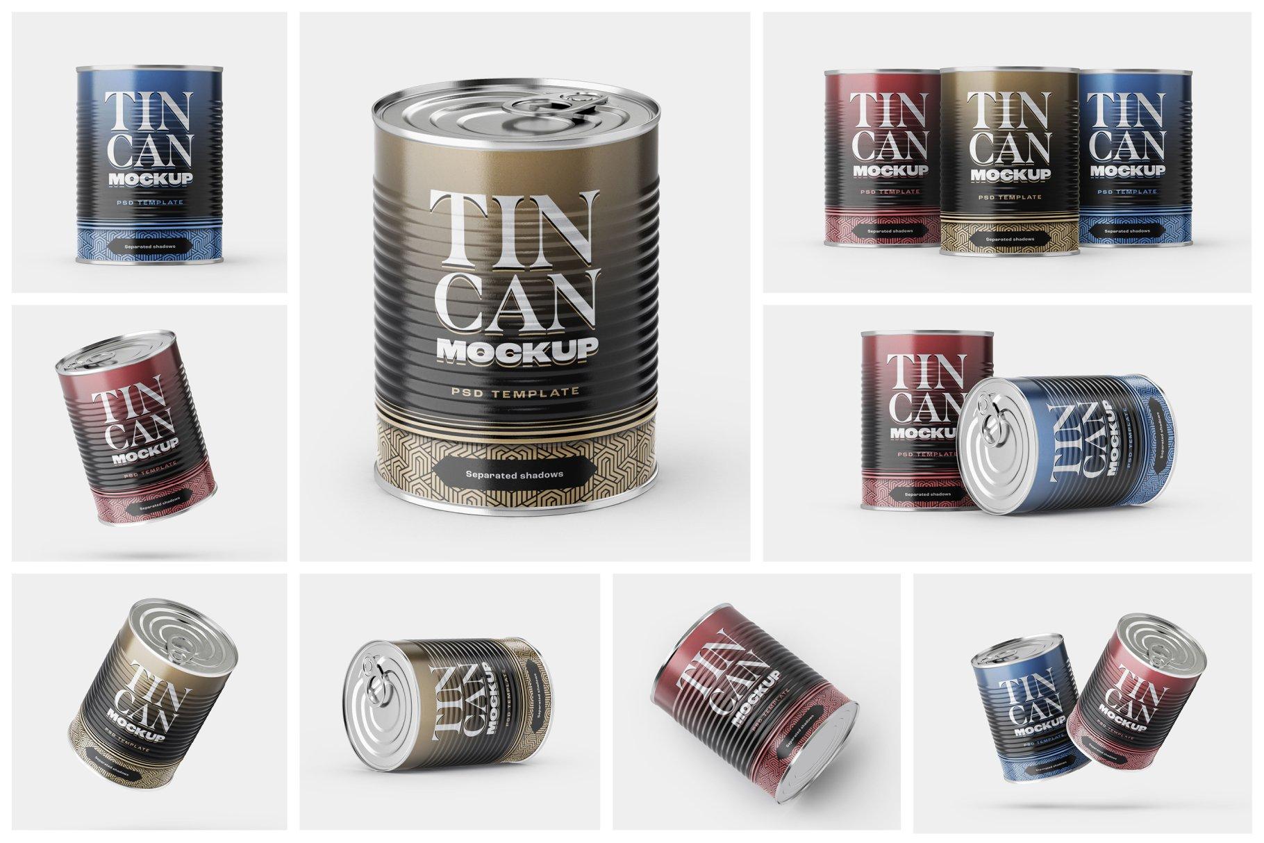 9款食品罐头金属锡罐包装样机模板素材合集 Tin Can Mockup Set | Conserve插图1
