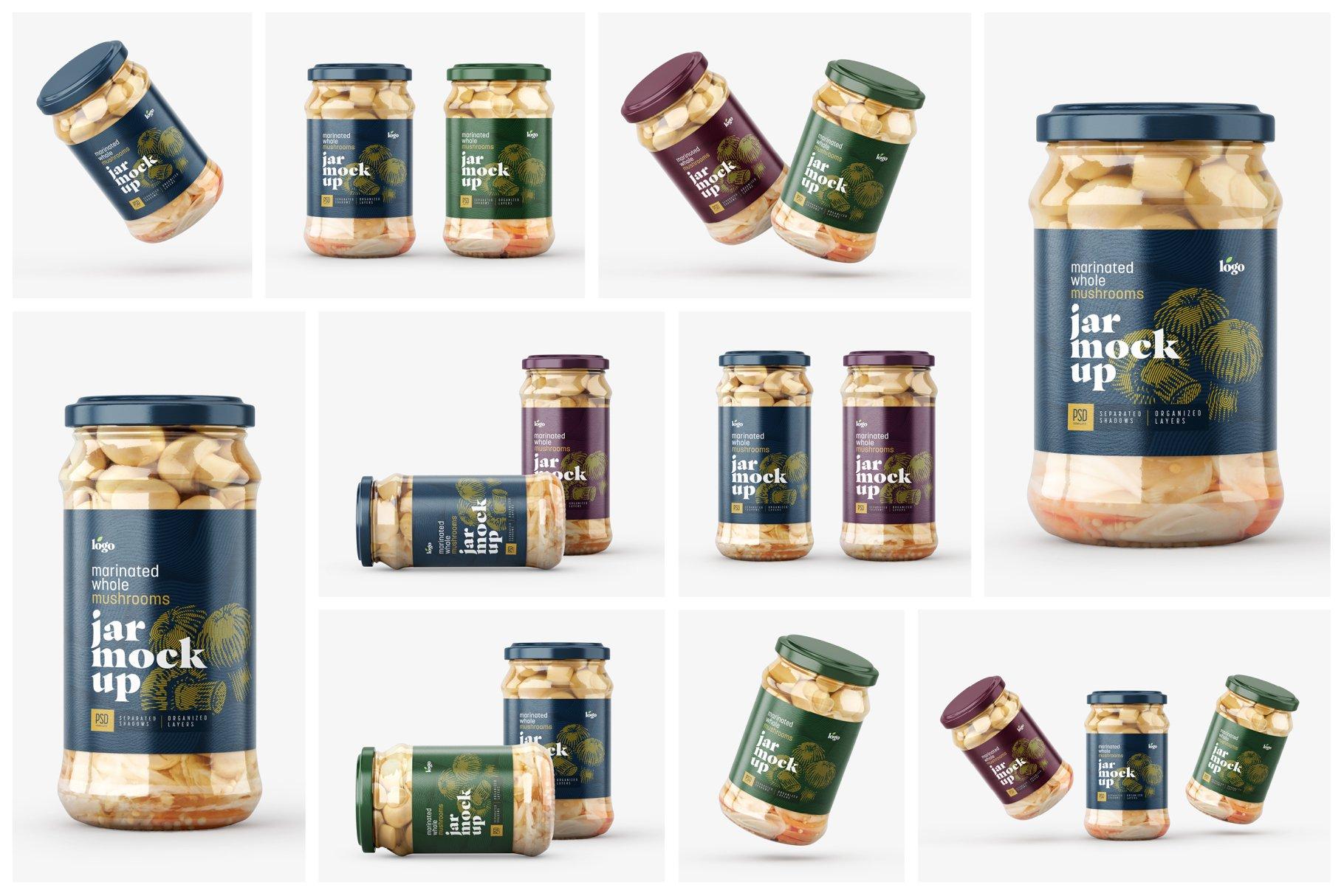 10款新潮蘑菇果酱水果罐头玻璃瓶标签设计展示样机合集 Whole Mushroom Jar Mockup Set插图1