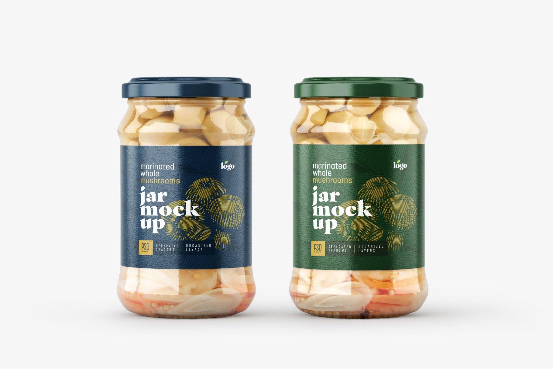 10款新潮蘑菇果酱水果罐头玻璃瓶标签设计展示样机合集 Whole Mushroom Jar Mockup Set插图9