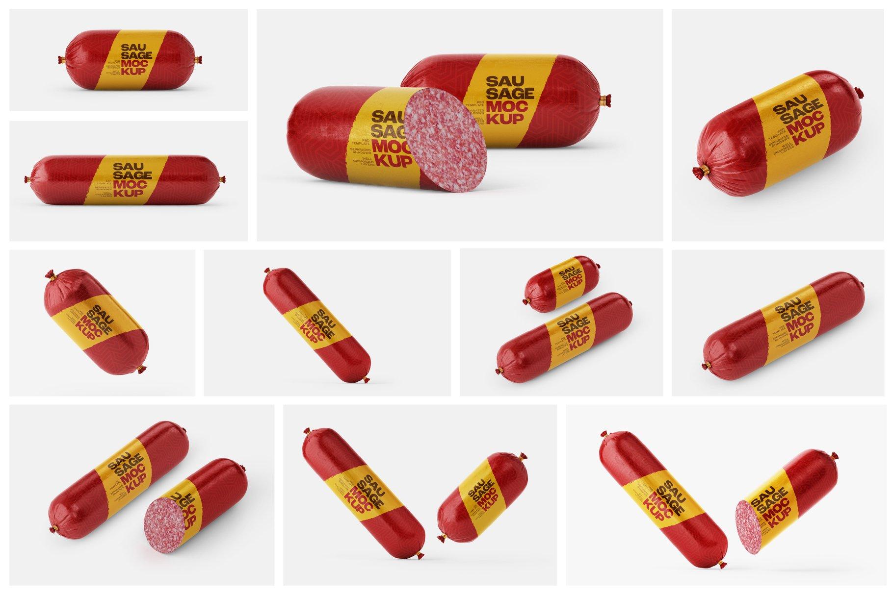 11款火腿肠香肠密封塑料袋设计展示贴图样机合集 Sausage Chub Mockup Set插图1