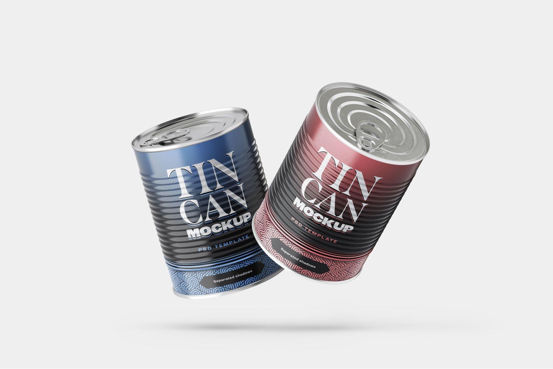 9款食品罐头金属锡罐包装样机模板素材合集 Tin Can Mockup Set | Conserve插图7