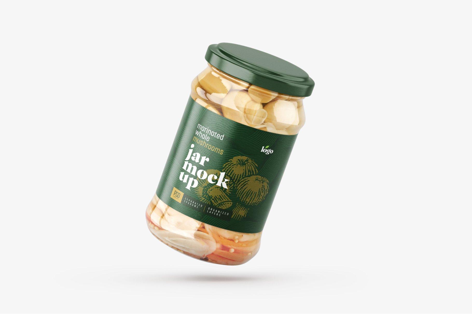 10款新潮蘑菇果酱水果罐头玻璃瓶标签设计展示样机合集 Whole Mushroom Jar Mockup Set插图11