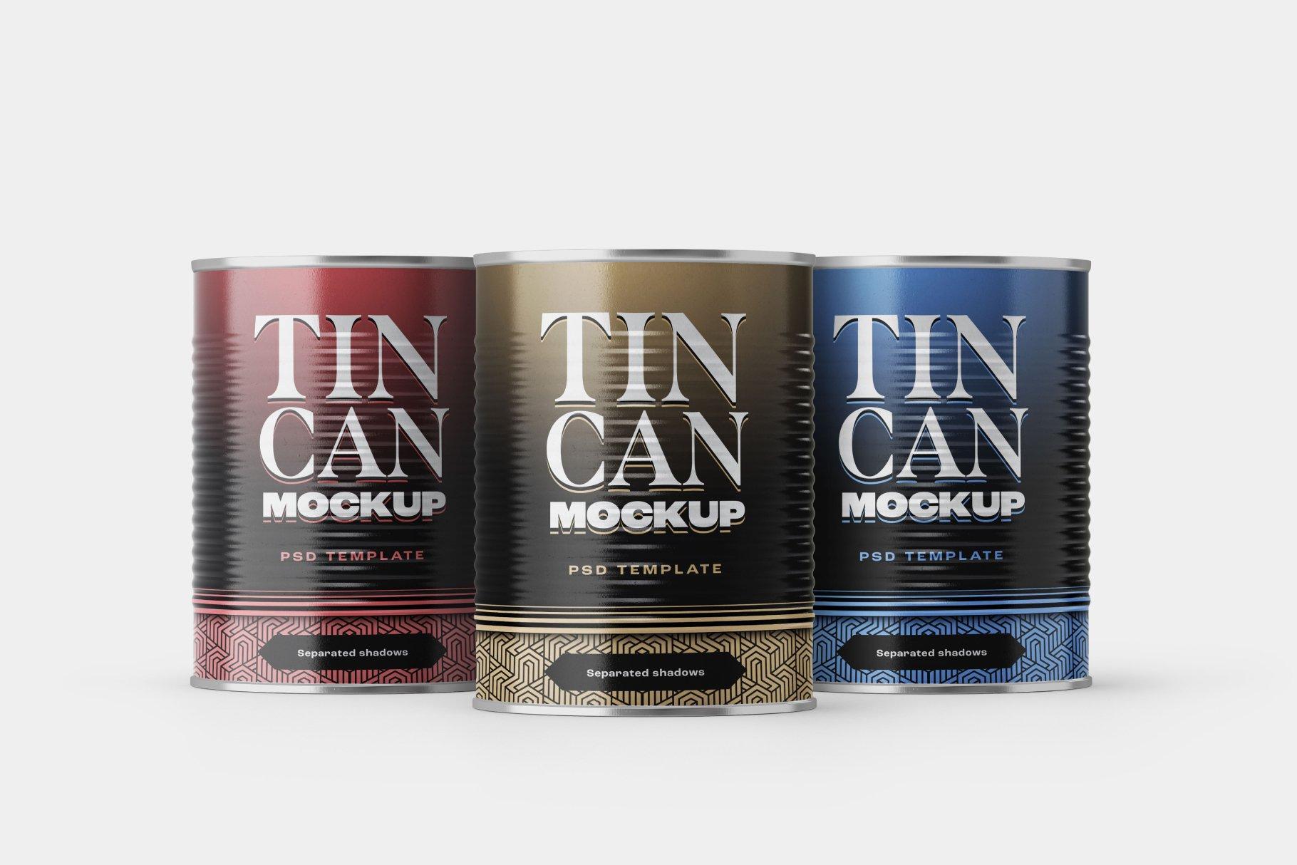 9款食品罐头金属锡罐包装样机模板素材合集 Tin Can Mockup Set | Conserve插图9