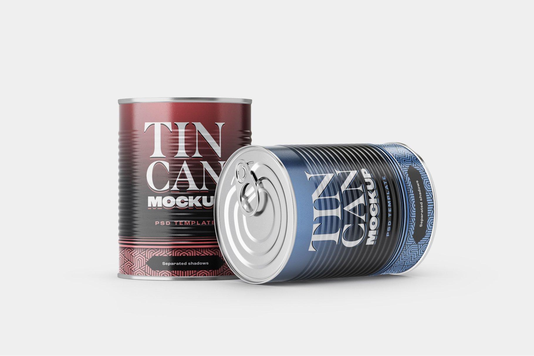 9款食品罐头金属锡罐包装样机模板素材合集 Tin Can Mockup Set | Conserve插图8